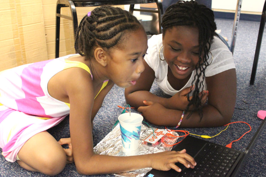 Students Maliah and Kayla at the Imaginarium's Summer Lab camp at Columbine Elementary School. (Susan Gonzalez)