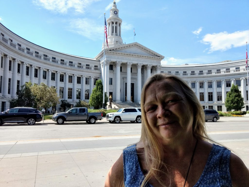 Yolanda French Borders  in front of City and County on Aug. 19, 2019. (Donna Bryson/Denverite)