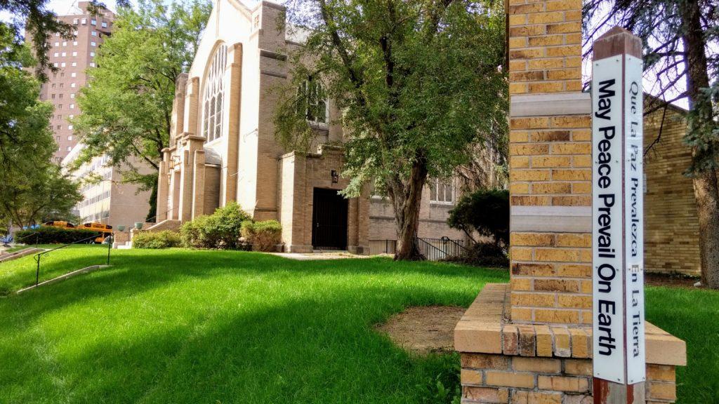 Warren Church and Warren Village in the background on Aug. 29, 2019. (Donna Bryson/Denverite)