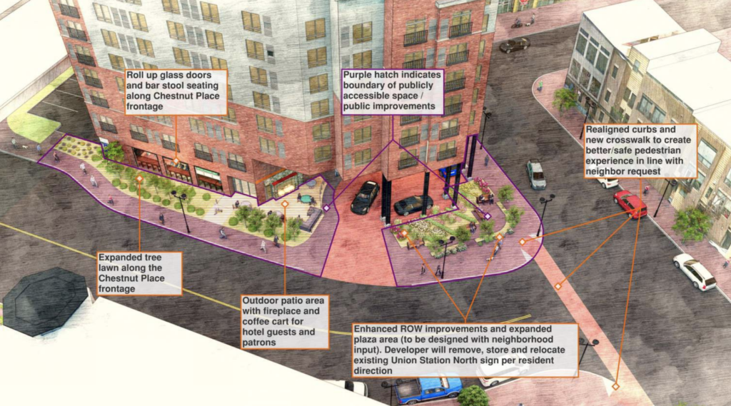 A rendering of the proposed hotel. (Denver City Council Land Use, Transportation and Infrastructure Committee)