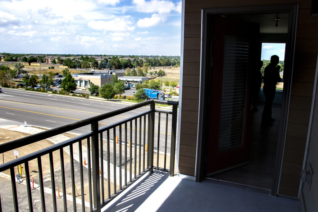 The view from a two-bedroom apartment's balcony at Crossing Pointe North in Thornton, Sept. 3, 2019. (Kevin J. Beaty/Denverite)