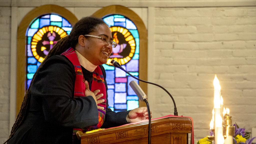 Rev. Jennifer S. Leath at the pulpit inside Campbell Chapel AME Church on a Sunday morning, Aug. 11, 2019. (Kevin J. Beaty/Denverite)