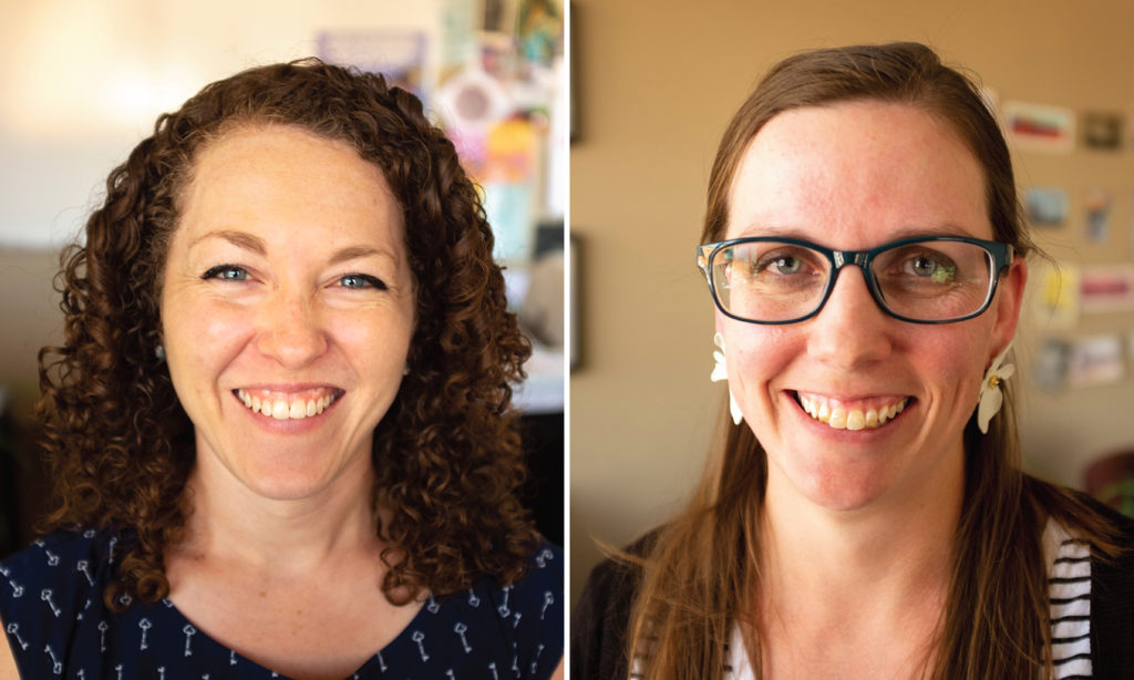 Aubrey Hill and Sarah McAfee of the Center for Health Progress. Aug. 15, 2019. (Kevin J. Beaty/Denverite)