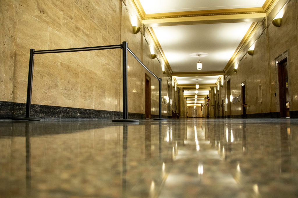 An area designated for recording down the hall from City Council chambers in the City and County Building, Sept. 3, 2019. (Kevin J. Beaty/Denverite)
