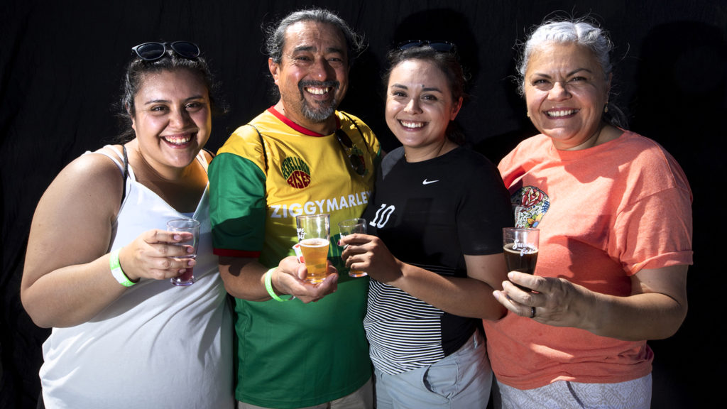 Lindsey, Adrian, Jessica and Alma Vargas. Suave Fest, by Raices Brewing, Sept. 14, 2019. (Kevin J. Beaty/Denverite)