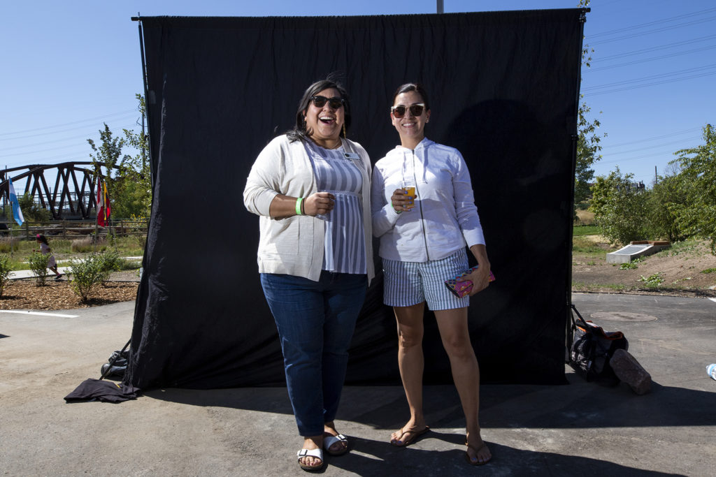City Councilwoman Jamie Torres and Angela Casias. Suave Fest, by the future site of Raices Brewing, Sept. 14, 2019. (Kevin J. Beaty/Denverite)