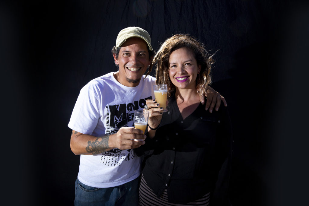 Angela Maria Ortiz-Roa and Henry Torres. Suave Fest, by the future site of Raices Brewing, Sept. 14, 2019. (Kevin J. Beaty/Denverite)