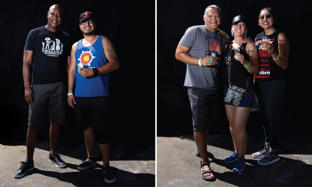 Joe Garcia and Clayton Ovado of Cheluna Brewing Co. and Darius Smith, Aspen Rendon and Raelene Whiteshield. Suave Fest, by the future site of Raices Brewing, Sept. 14, 2019. (Kevin J. Beaty/Denverite)