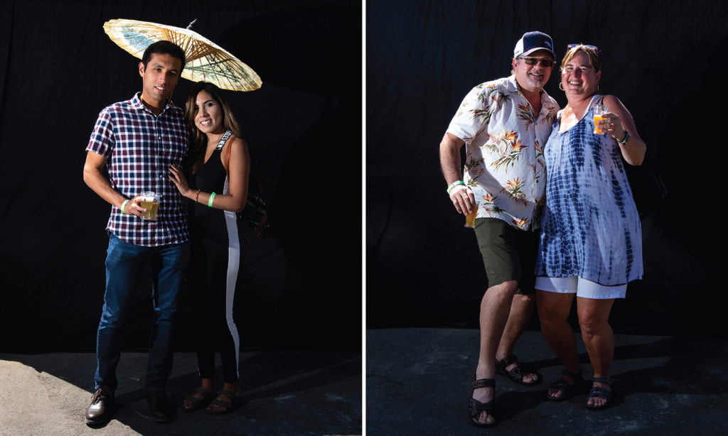 Alexis Ortega and Denise Suarez and Hugh Long and Lisa Cone. Suave Fest, by the future site of Raices Brewing, Sept. 14, 2019. (Kevin J. Beaty/Denverite)