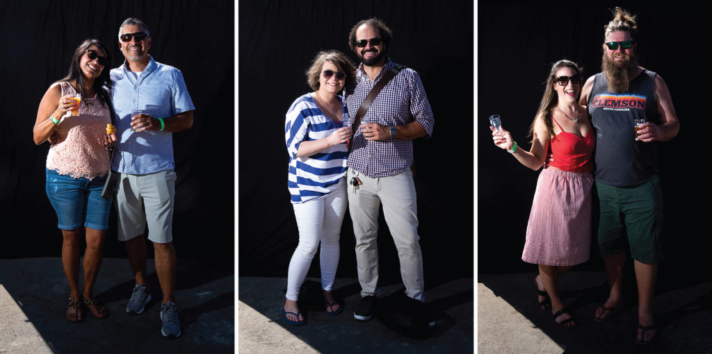 Mariam Tapia Salinas and James Salinas, Angela Burke and Taz Romine-Mann and Doug Hyndman and Melissa Gifford. Suave Fest, by the future site of Raices Brewing, Sept. 14, 2019. (Kevin J. Beaty/Denverite)