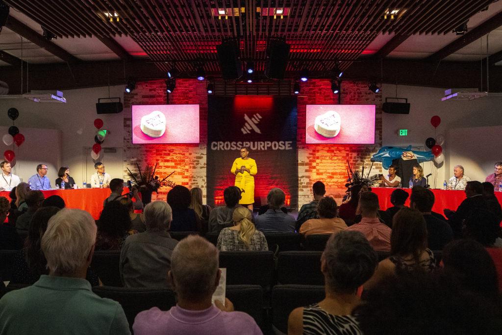 Sheila Littlejohn speaks during CrossPurpose's Change Agency pitch night, Sept. 18, 2019. (Kevin J. Beaty/Denverite)