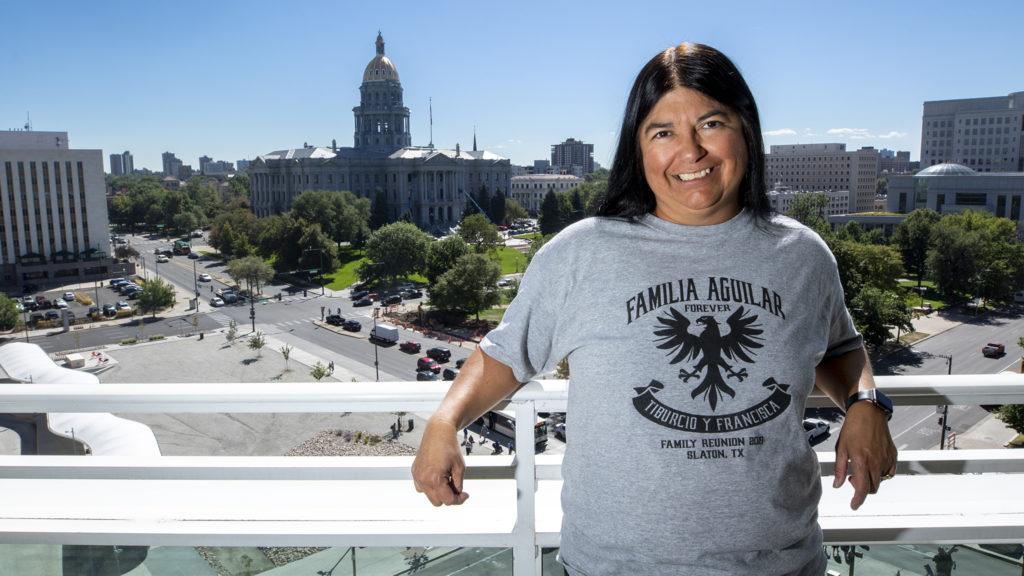 Irene Aguilar, former state senator and lead of Denver's Neighborhood Equity and Stabilization Team, poses for a portrait. Sept. 19, 2019. (Kevin J. Beaty/Denverite)