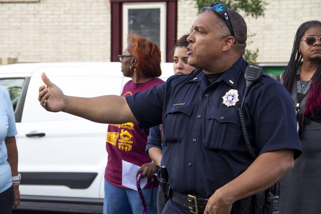 Denver police Lt. Glenn West speaks during a community meeting in Montbello. Sept. 18, 2019. (Esteban L. Hernandez/Denverite)