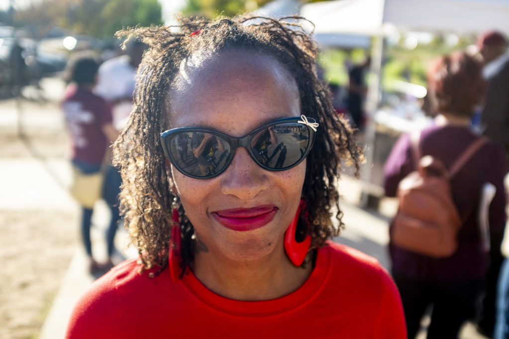 Carol Robinson poses for a portrait during a gathering to discuss youth gun violence outside of the Green Valley Ranch Recreation Center, Sept. 28, 2019. (Kevin J. Beaty/Denverite)