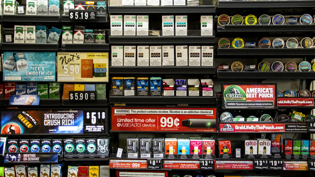 Nicotine products for sale at a City Park West convenience store. Sept. 30, 2019. (Kevin J. Beaty/Denverite)