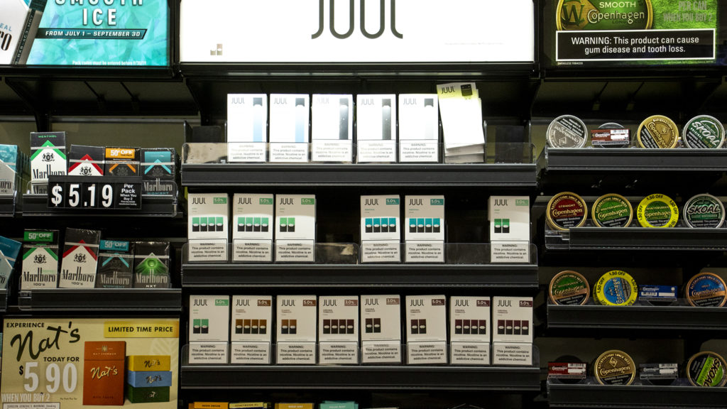 Vape products for sale at a City Park West convenience store. Sept. 30, 2019. (Kevin J. Beaty/Denverite)