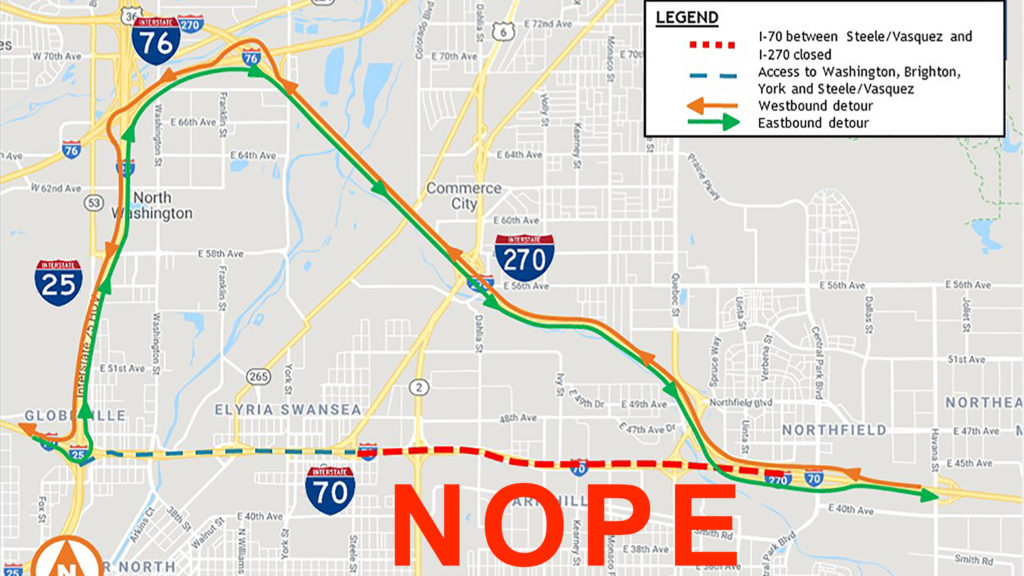 I-70 will be closed from Steele/Vasquez to I-270 starting at 10 p.m. on Friday, Sept. 20 through 5 a.m. on Monday, Sept. 23. (CDOT, emphasis added by Denverite)