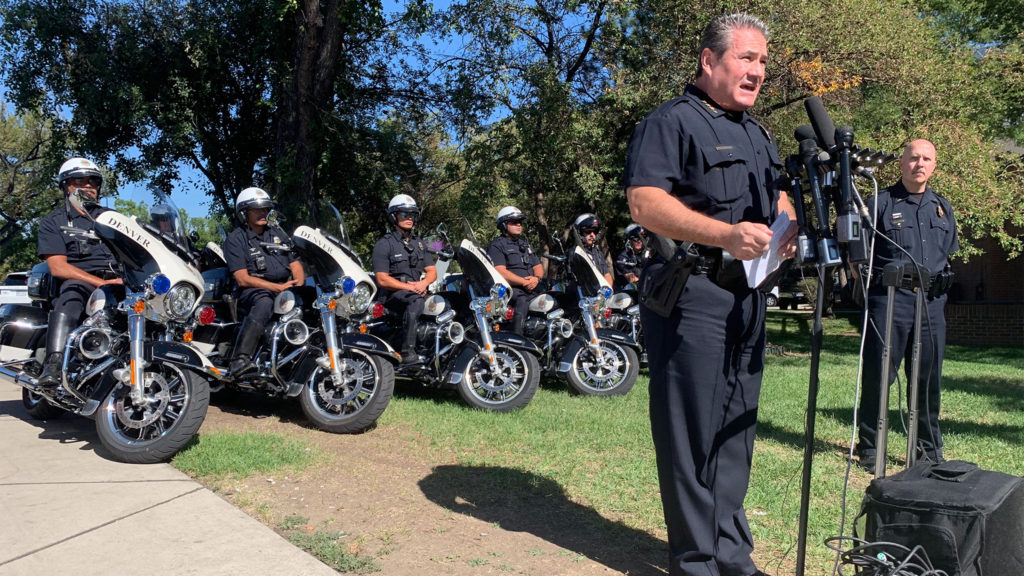 Denver Police Chief Paul Pazen during a press event on Friday, Sept. 13, near Colfax and Speer in Denver. (Esteban L. Hernandez/Denverite)