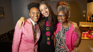 Candi CdeBaca (center) poses for a portrait with her partner, Kerrie Joy and her mother, Annette Johnson, as she celebrates a lead over incumbent Albus Brooks on Election night, June 4, 2019. (Kevin J. Beaty/Denverite)