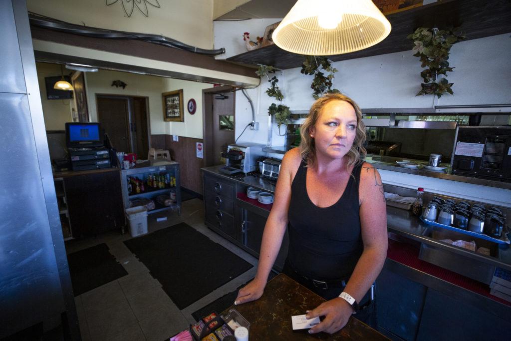 Kellie Plessinger speaks to a reporter inside the Ranch House Cafe on East Colfax Avenue where she works, Sept. 25, 2019. (Kevin J. Beaty/Denverite)