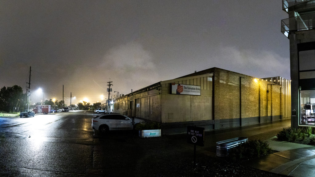 The Salvation Army's Crossroad men's shelter a block off from Brighton Boulevard, Oct. 1, 2019. (Kevin J. Beaty/Denverite)