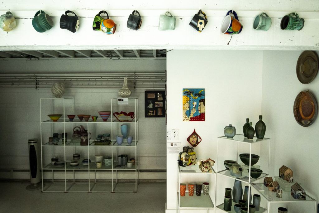 Ceramic work on display at Plinth Gallery on Brighton Boulevard, Five Points, Oct. 2, 2019. (Kevin J. Beaty/Denverite)