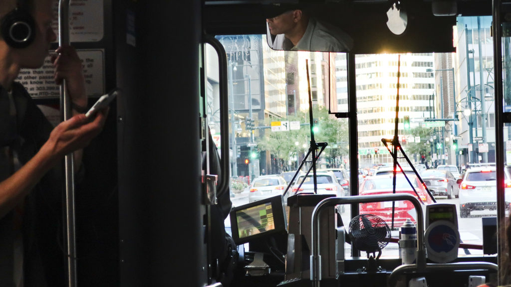 The 15 bus on 17th Street downtown, October 3, 2019. (Nathaniel Minor/CPR News)