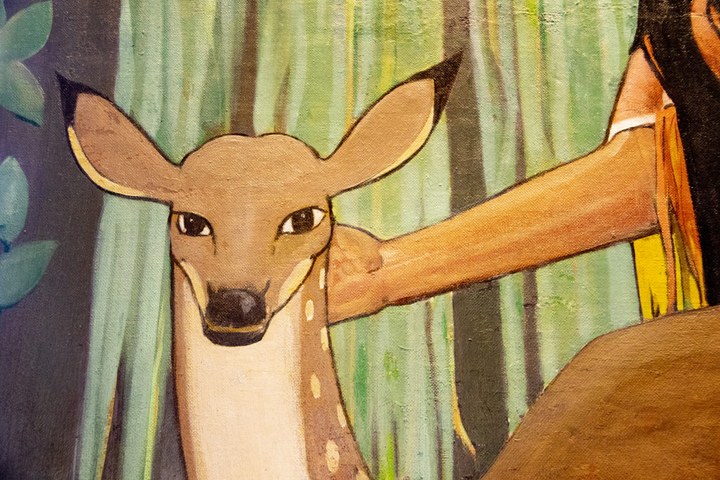 A nice deer in a mural by Allen True inside Tammen Hall, near the campus of St. Joseph Hospital, Oct. 15, 2019. (Kevin J. Beaty/Denverite)