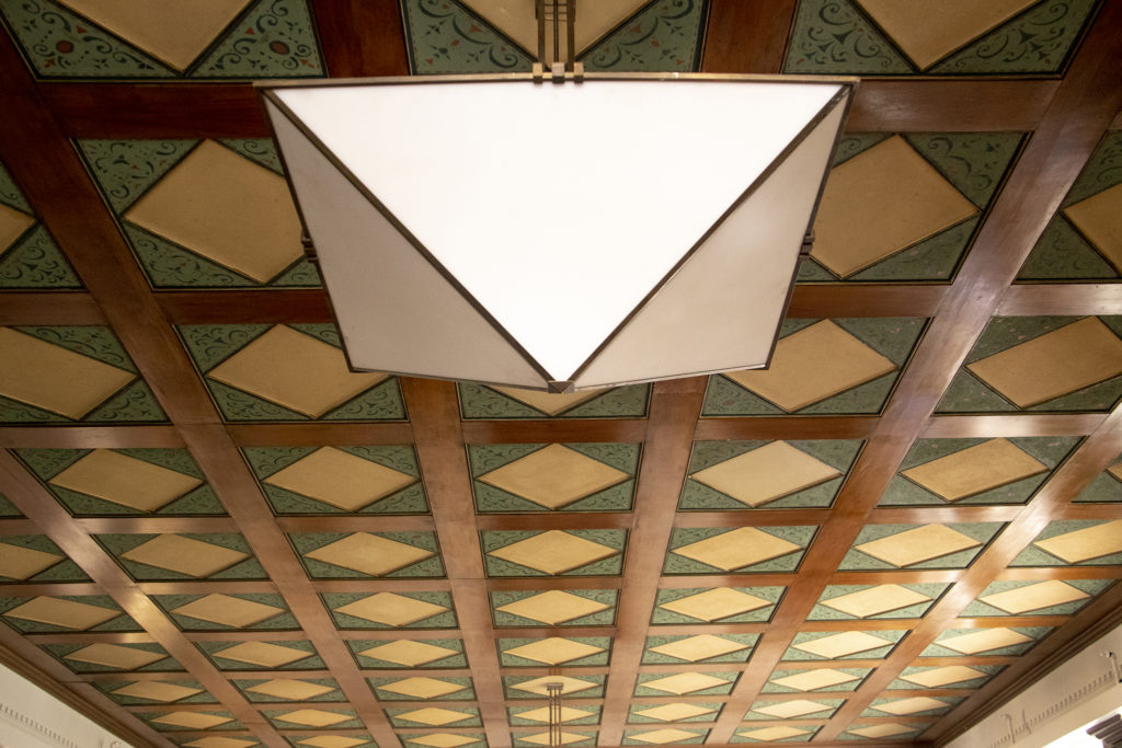 The historic ceiling of Tammen Hall's community room, Oct. 15, 2019. (Kevin J. Beaty/Denverite)