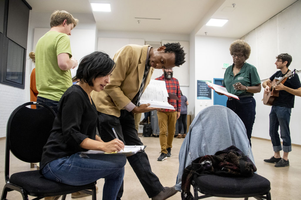 """Playwright Brenton Weyi workshop lines with Chelley Canales for his play, """"My Country, My Country,"""" at the Robert and Judi Newman Center for Theater Education at the Denver Center for the Performing Arts, Oct. 16, 2019. (Kevin J. Beaty/Denverite)"""