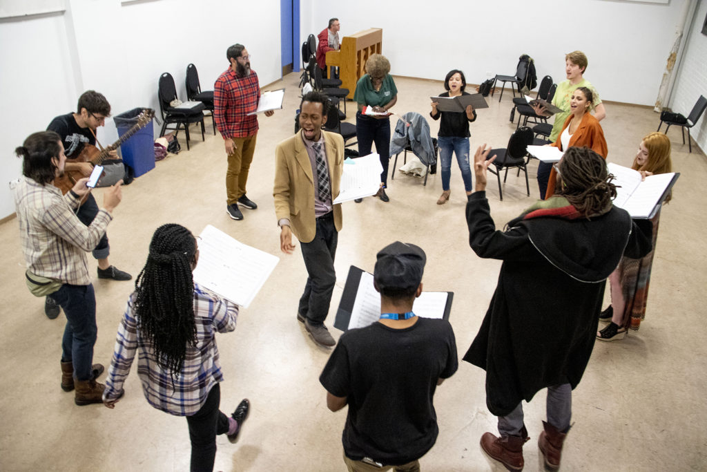 """Playwright Brenton Weyi workshops his play, """"My Country, My Country,"""" at the Robert and Judi Newman Center for Theater Education at the Denver Center for the Performing Arts, Oct. 16, 2019. (Kevin J. Beaty/Denverite)"""