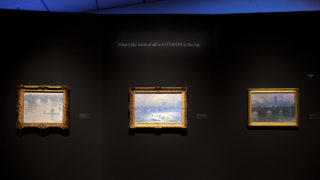 """Paintings of London on display in the Denver Art Museum's """"Claude Monet: The Truth of Nature"""" exhibit Oct. 17, 2019. (Kevin J. Beaty/Denverite)"""