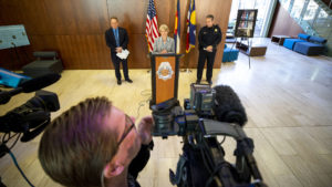 District Attorney Beth McCann announces a newly awarded grant to solve cold cases in a press conference at the Denver Police Crime Labratory, Oct. 22, 2019. (Kevin J. Beaty/Denverite)