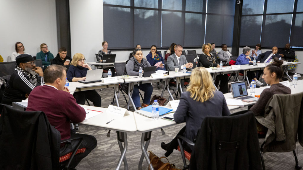 Denver's Community Corrections Advisory Committee meets at the Carla Madison Recreation Center on Colfax Avenue, Oct. 24, 2019. (Kevin J. Beaty/Denverite)