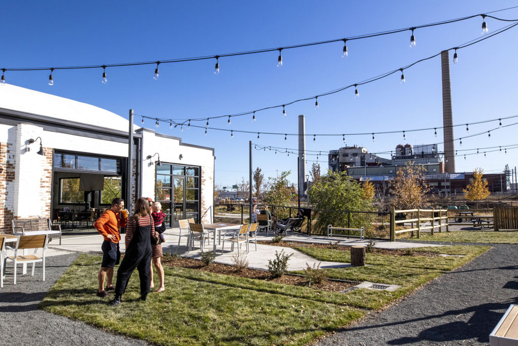 The patio at Raices Brewing Co., Sun Valley, Oct. 26, 2019. (Kevin J. Beaty/Denverite)