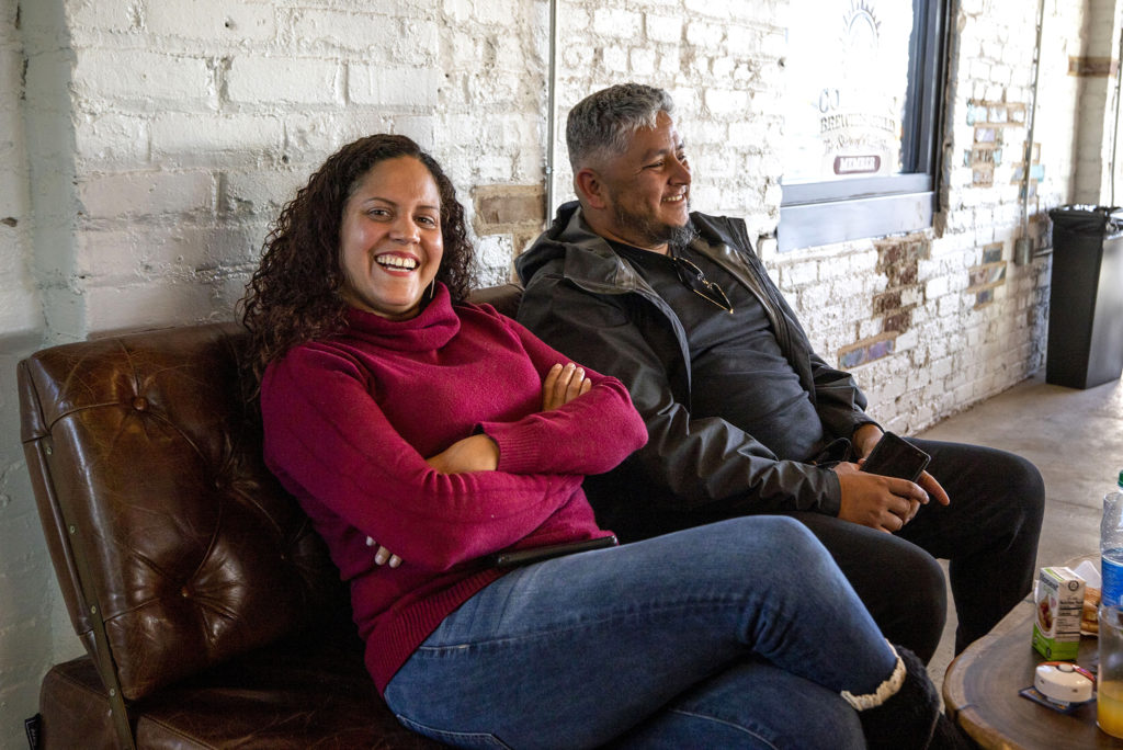 Raices Brewing Co. owners Tamil Maldonado and Jose Beteta in their new Sun Valley space, Oct. 26, 2019. (Kevin J. Beaty/Denverite)