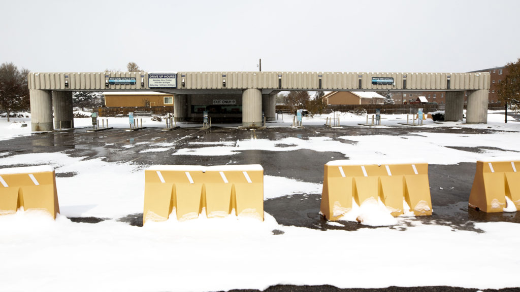 An old drive-up ATM spot in Aurora that's poised to be redeveloped. Oct. 29, 2019. (Kevin J. Beaty/Denverite)