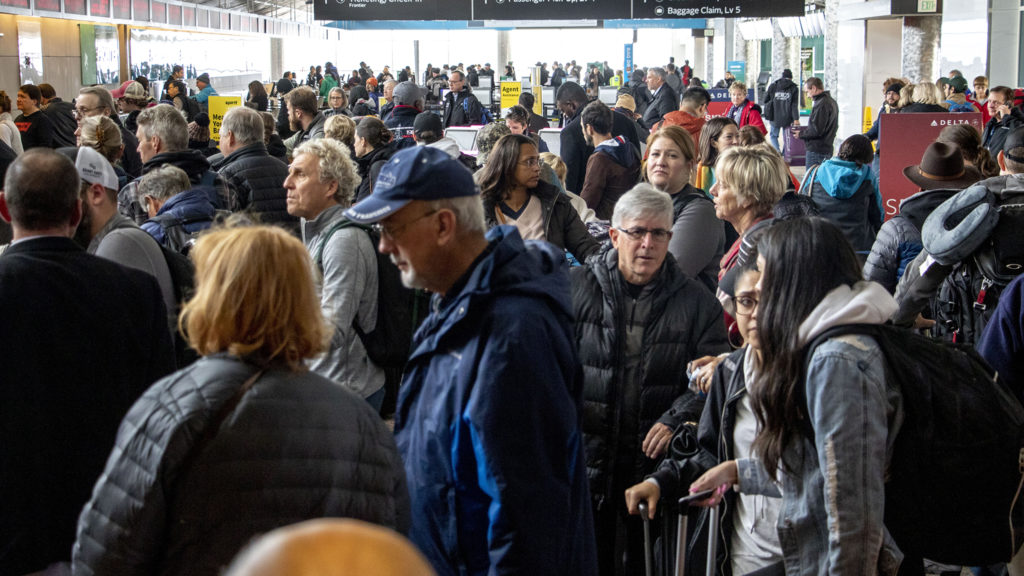 Check-in lines were super bad at Denver International Airport on a very snowy day, Oct. 29, 2019. (Kevin J. Beaty/Denverite)