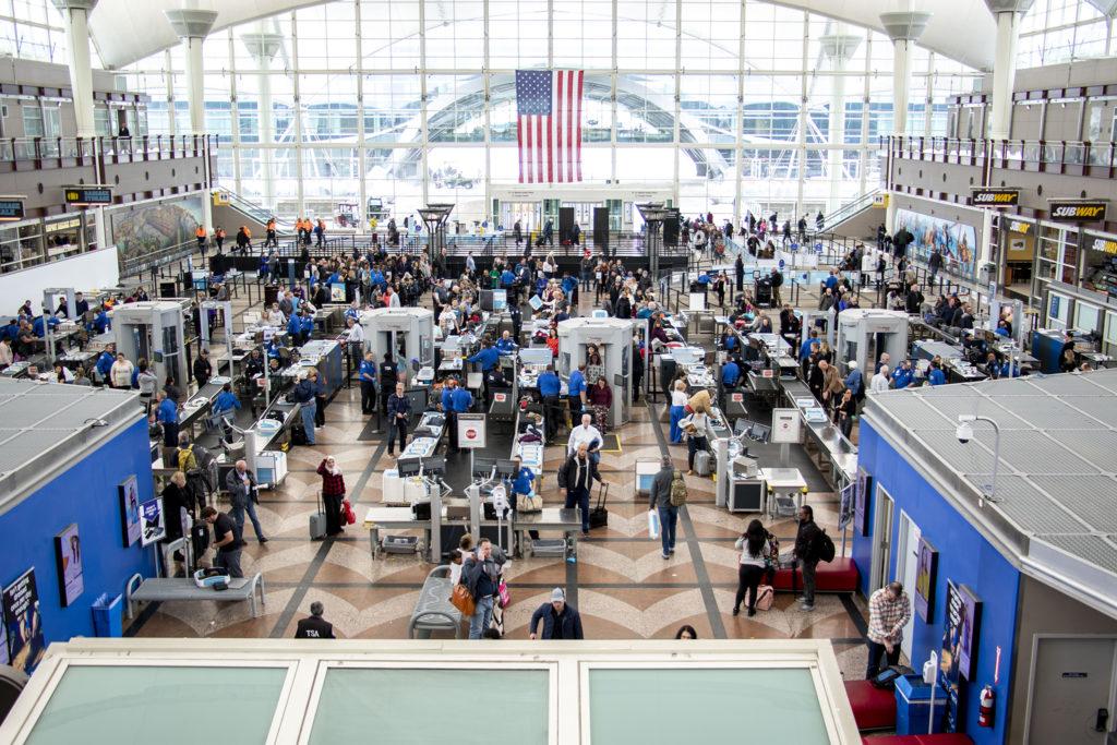 TSA's security check at Denver International Airport on a very snowy day, Oct. 29, 2019. (Kevin J. Beaty/Denverite)