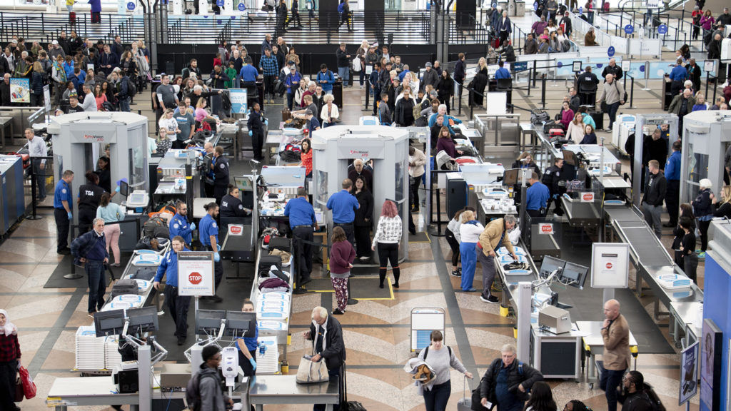Security lines weren't actually that bad at Denver International Airport on a very snowy day, Oct. 29, 2019. (Kevin J. Beaty/Denverite)