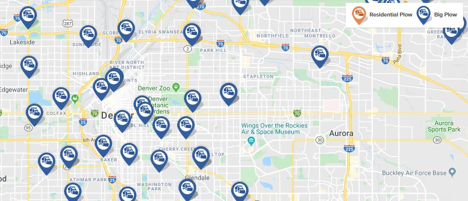 Denver's plow tracker was activated for a storm on Sun., Oct. 27, 2019.