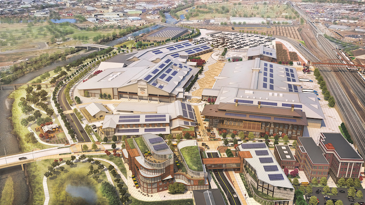 An aerial rendering of the future  National Western Center Campus. (Courtesy, City and County of Denver)