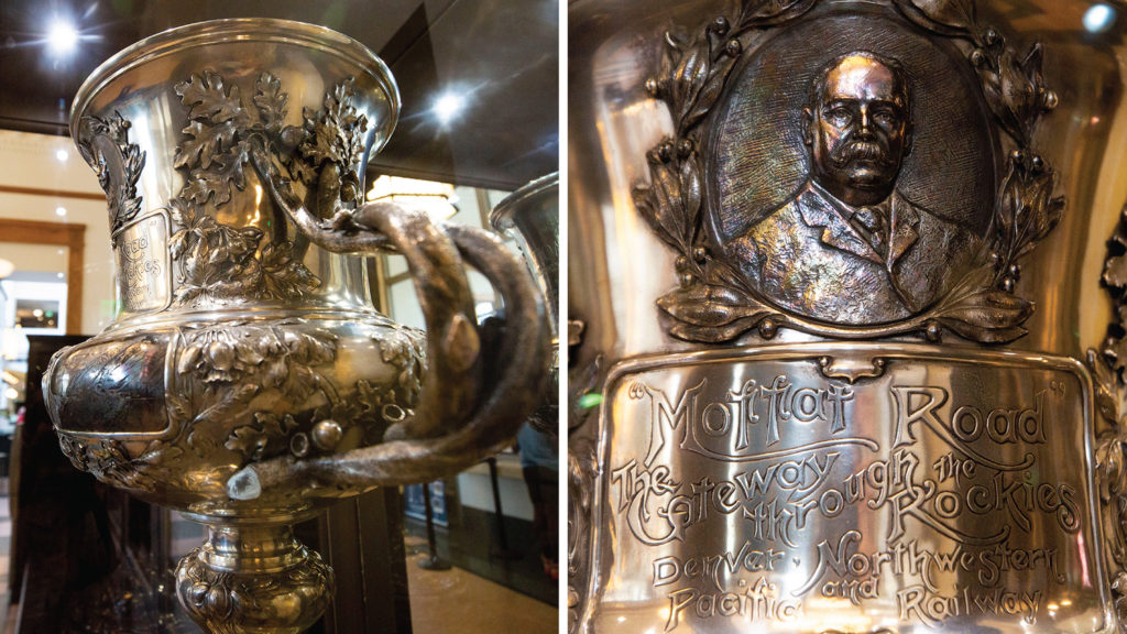 """""""The Loving Cup of Inspiration,"""" known simply as the """"Moffat Cup,"""" on display at Union Station. Sept. 25, 2019. (Kevin J. Beaty/Denverite)"""