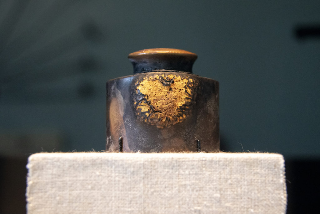 An inkwell owned by Civil War Gen. Phillip Sheridan who lent it to Gens. Ulysses S. Grant and Robert E. Lee to sign articles of surrender at Appomattox. It ended up in Colorado with Sheridan's brother, and was donated to the state's historic archive in 1897. Oct. 15, 2019. (Kevin J. Beaty/Denverite)