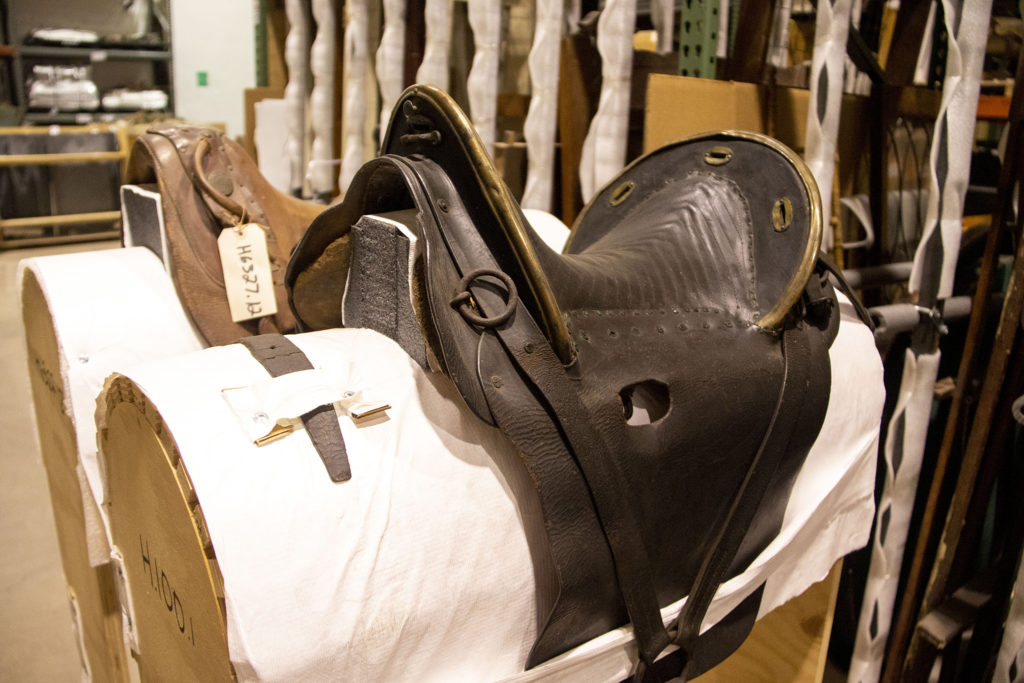 A saddle that once belonged to James Denver, the city's namesake, inside History Colrado's satelite archive space in a secret, undisclosed location. Oct. 16, 2019. (Kevin J. Beaty/Denverite)