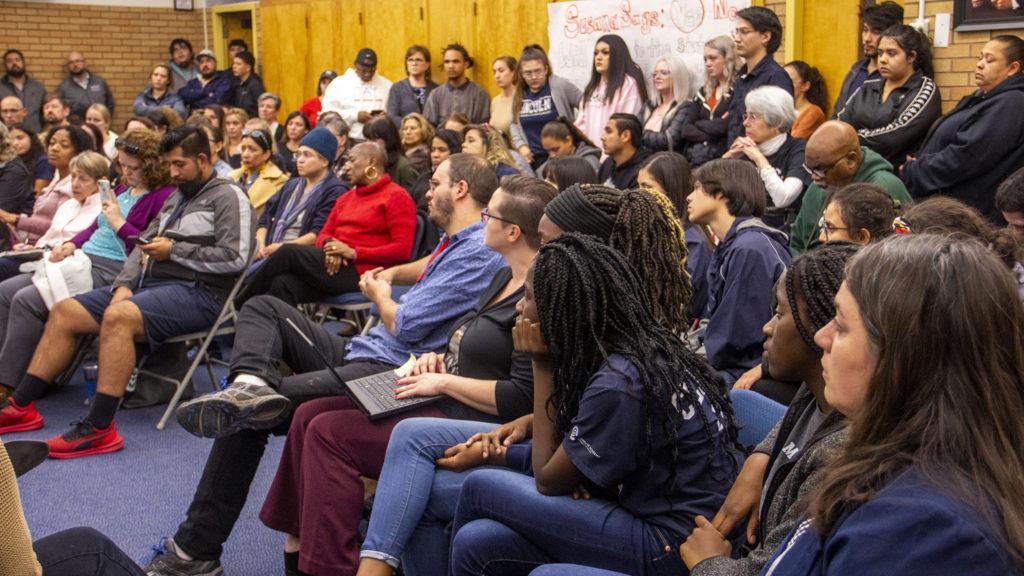 A community meeting at Lincoln High School on Monday, Nov. 4, 2019, in Denver. (Esteban L. Hernandez/Denverite)