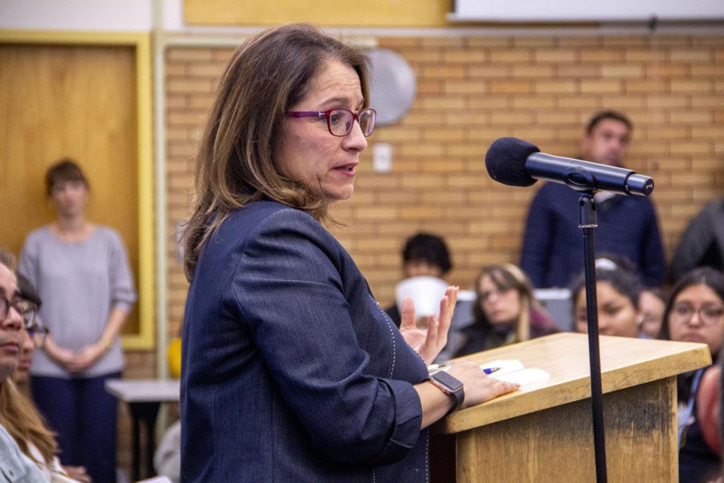 Superintendent Susana Cordova speaks at Lincoln High School on Monday, Nov. 4, 2019, in Denver. (Esteban L. Hernandez/Denverite)