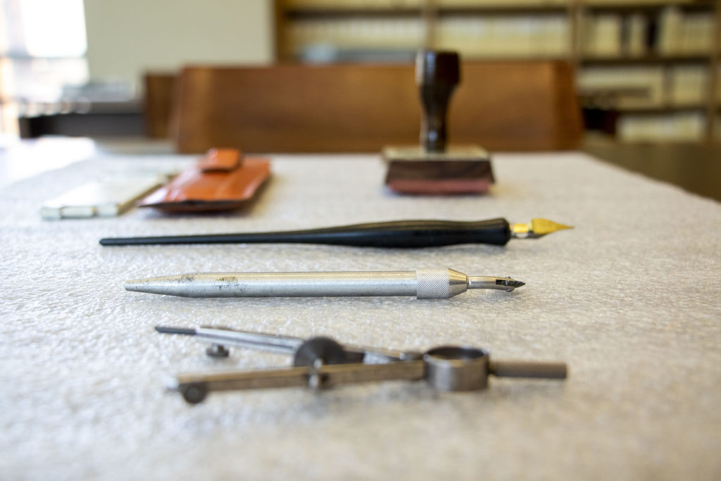 Old school architecture tools owned by George Hoover, a prolific Front Range architect. (Kevin J. Beaty/Denverite)