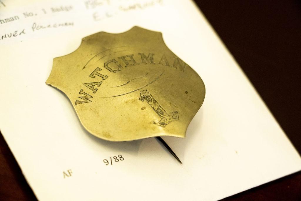 """Watchman 1, E.L. Gardner Police Badge."" (Kevin J. Beaty/Denverite, History Colorado Object ID, H.7076.1)"