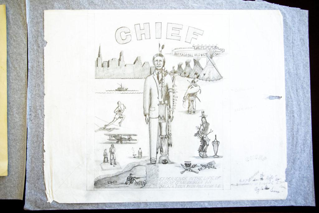 """Chief"" by Eugene Standingbear. (Kevin J. Beaty/Denverite, History Colorado Object ID, 2014.31.25)"